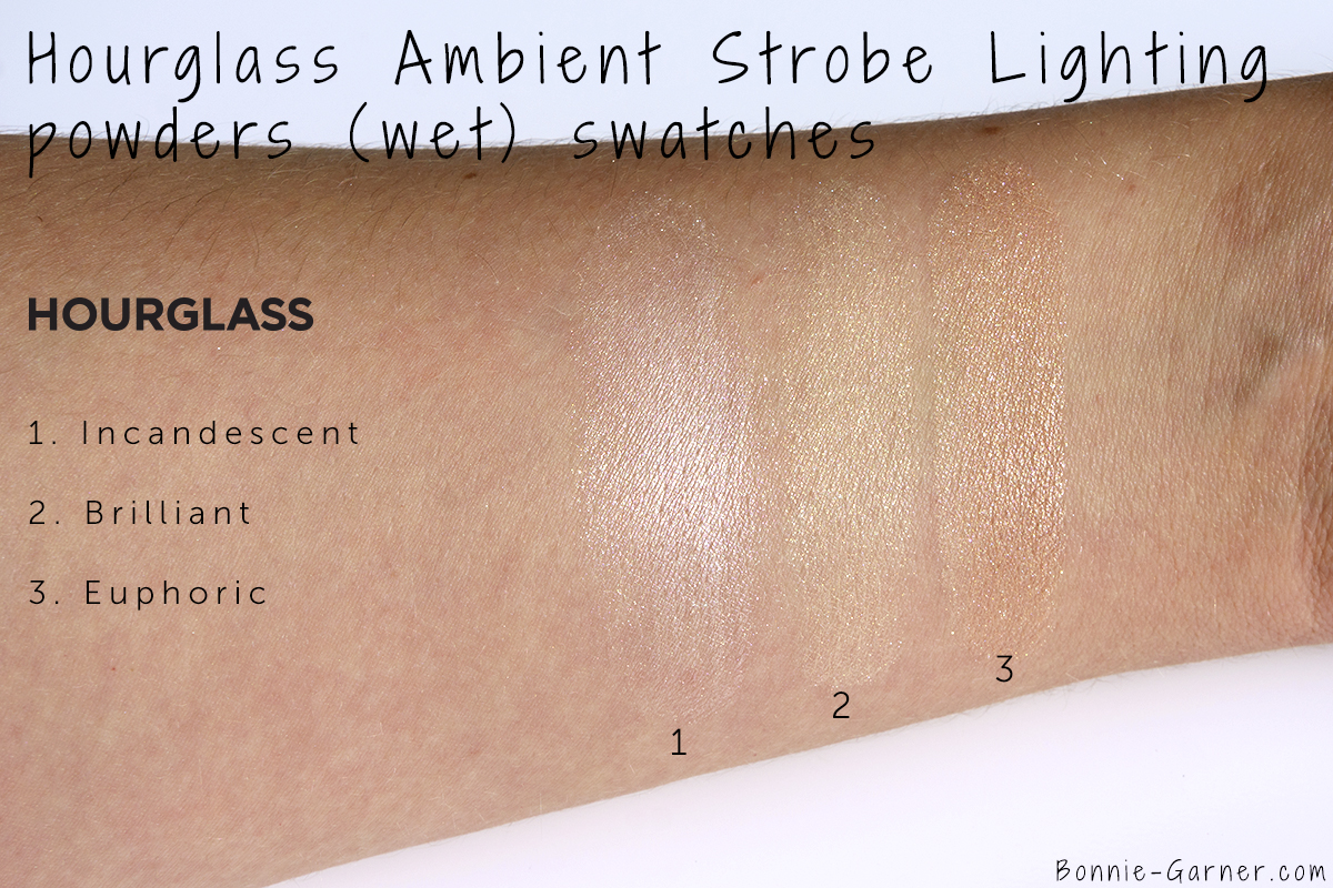 Hourglass Ambient Strobe Lighting Powder Incandescent, Brilliant, Euphoric (wet) swatches