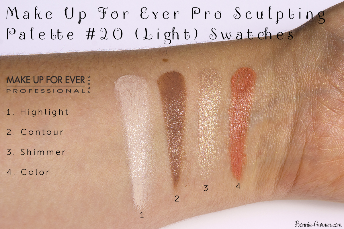 Make Up For Ever Pro Sculpting Palette #20 (Light) swatches