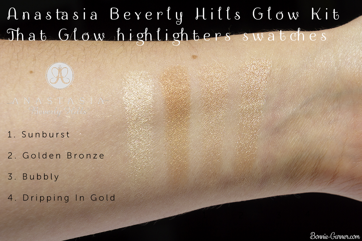 Anastasia Beverly Hills Glow Kit That Glow highlighters swatches