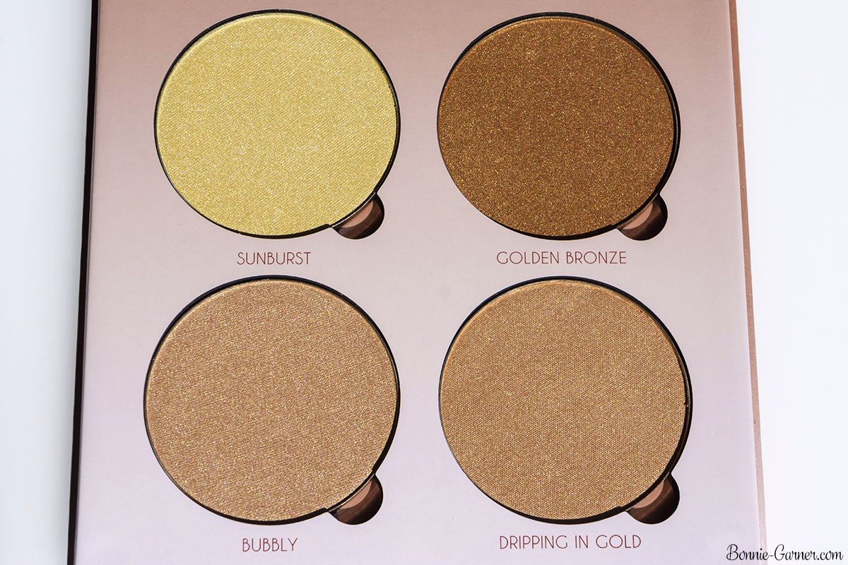Anastasia Beverly Hills Glow Kit That Glow highlighters: Sunburst, Golden Bronze, Bubbly, Dripping In Gold