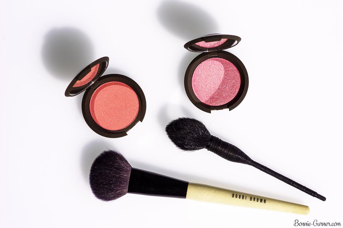 BECCA Shimmering Skin Perfector Luminous Blush Camellia, Snapdragon, NARS brush, Bobbi Brown blush brush