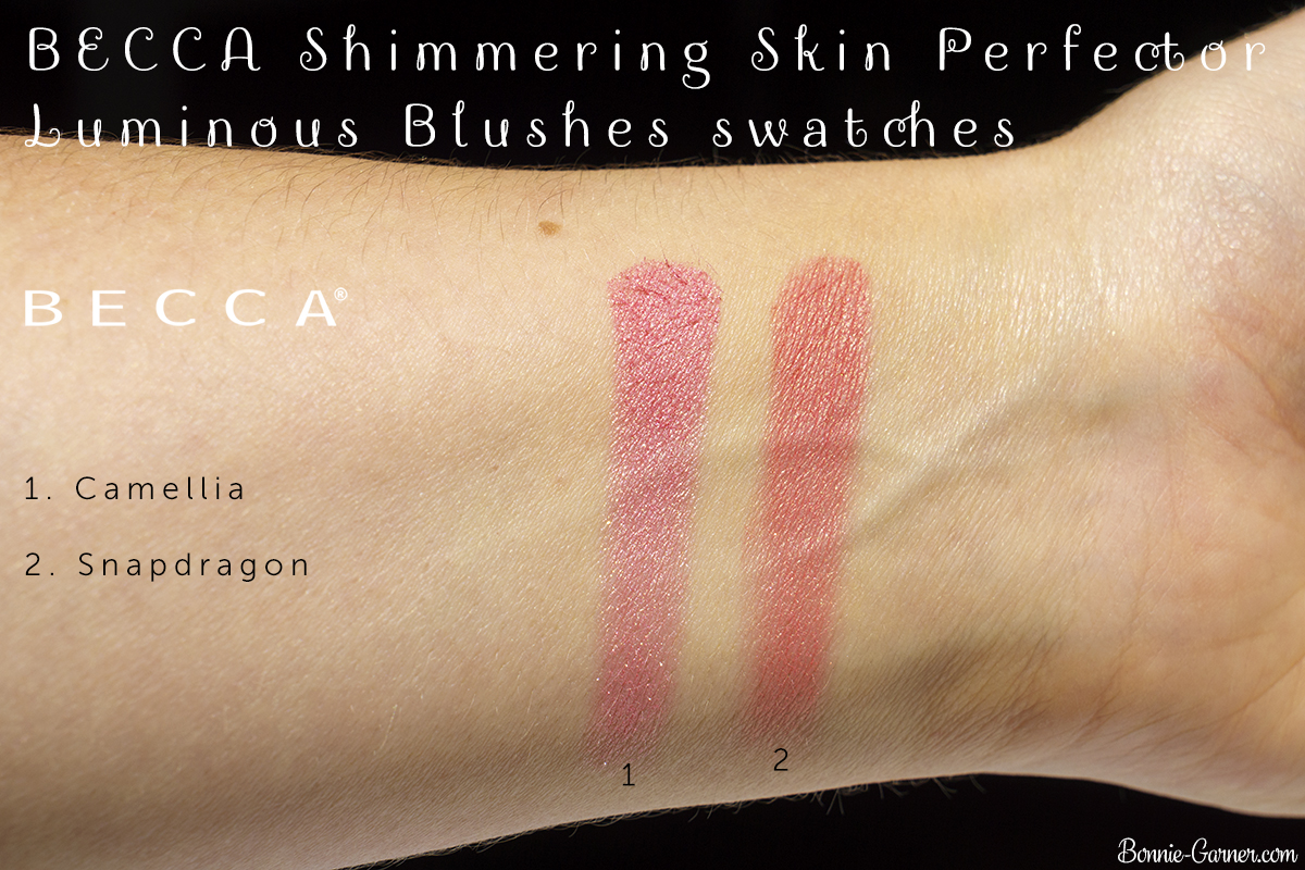 BECCA Shimmering Skin Perfector Luminous Blush Camellia, Snapdragon swatches