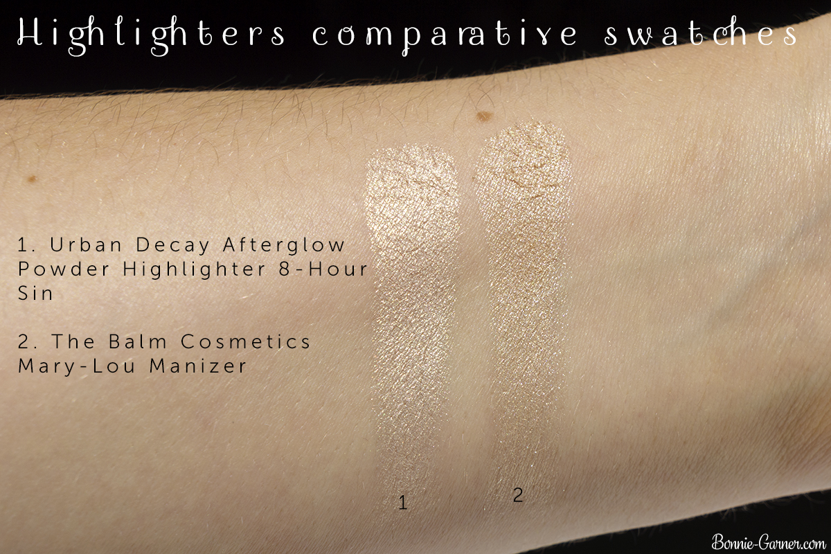 Urban Decay Afterglow Powder Highlighter 8-Hour Sin VS The Balm Cosmetics Mary-Lou Manizer highlighter comparative swatches