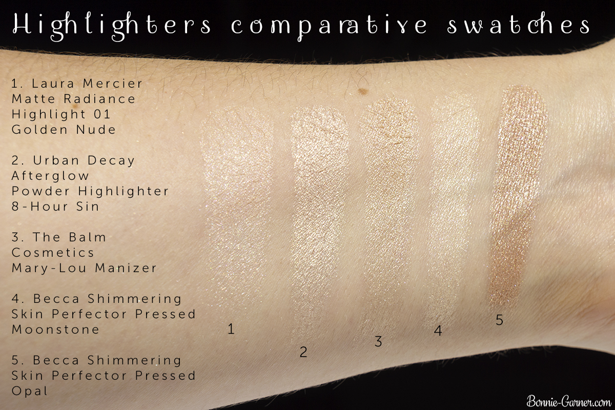 Urban Decay Afterglow Powder Highlighter 8-Hour Sin + comparative swatches