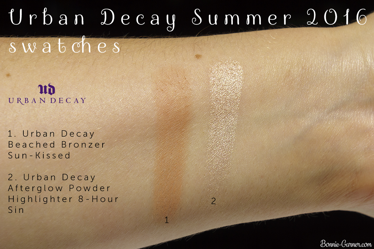 Urban Decay Beached Bronzer Sun Kissed, Afterglow Powder Highlighter 8-Hour Sin swatches