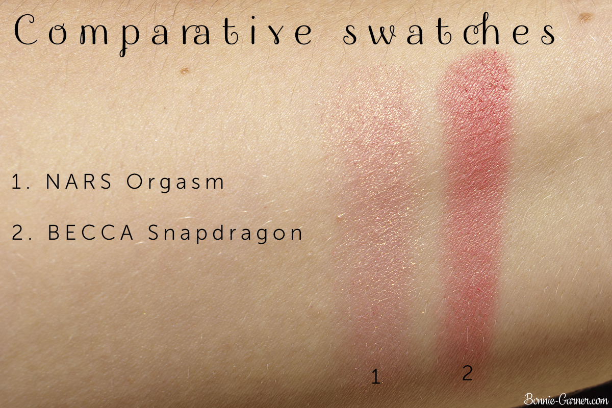 BECCA Snapdragon blush VS NARS Orgasm blush comparative swatches