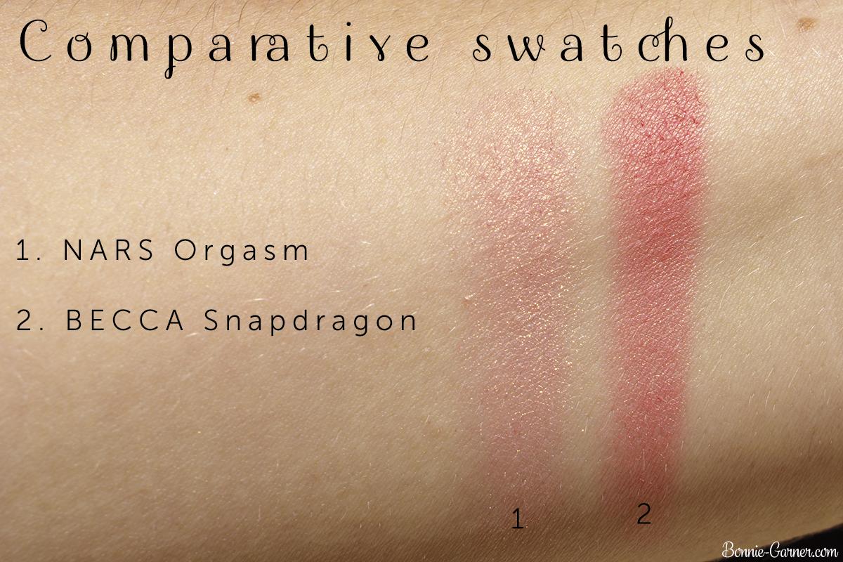 BECCA Snapdragon blush VS NARS Orgasm blush comparative swatches
