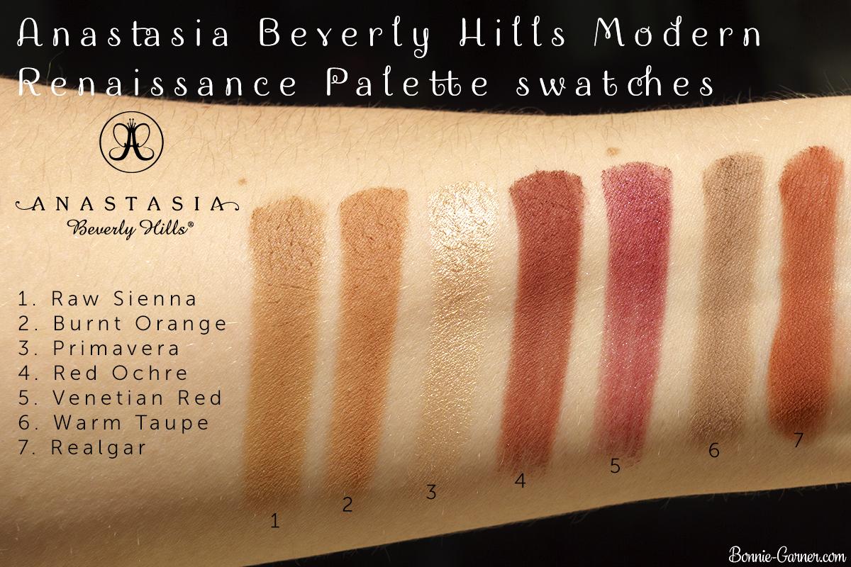 Anastasia Beverly Hills Modern Renaissance Palette bottom row swatches