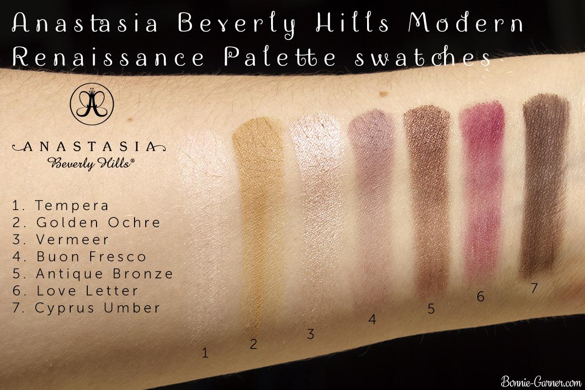 Anastasia Beverly Hills Modern Renaissance Palette top row swatches