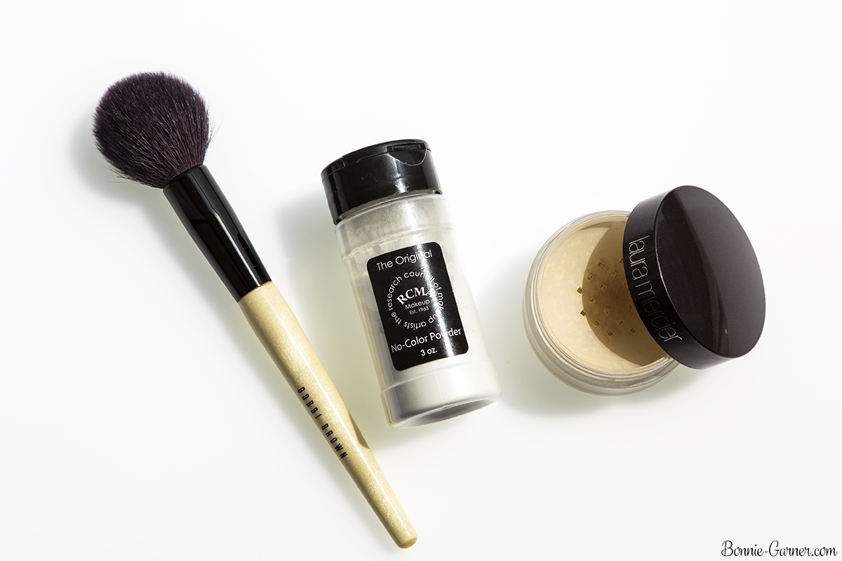 Face powders: RCMA, Laura Mercier, Bobbi Brown makeup brush