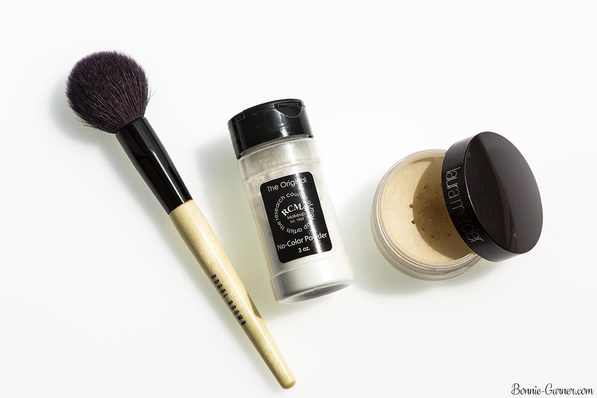Face powders: RCMA, Laura Mercier, Bobbi Brown makeup brush