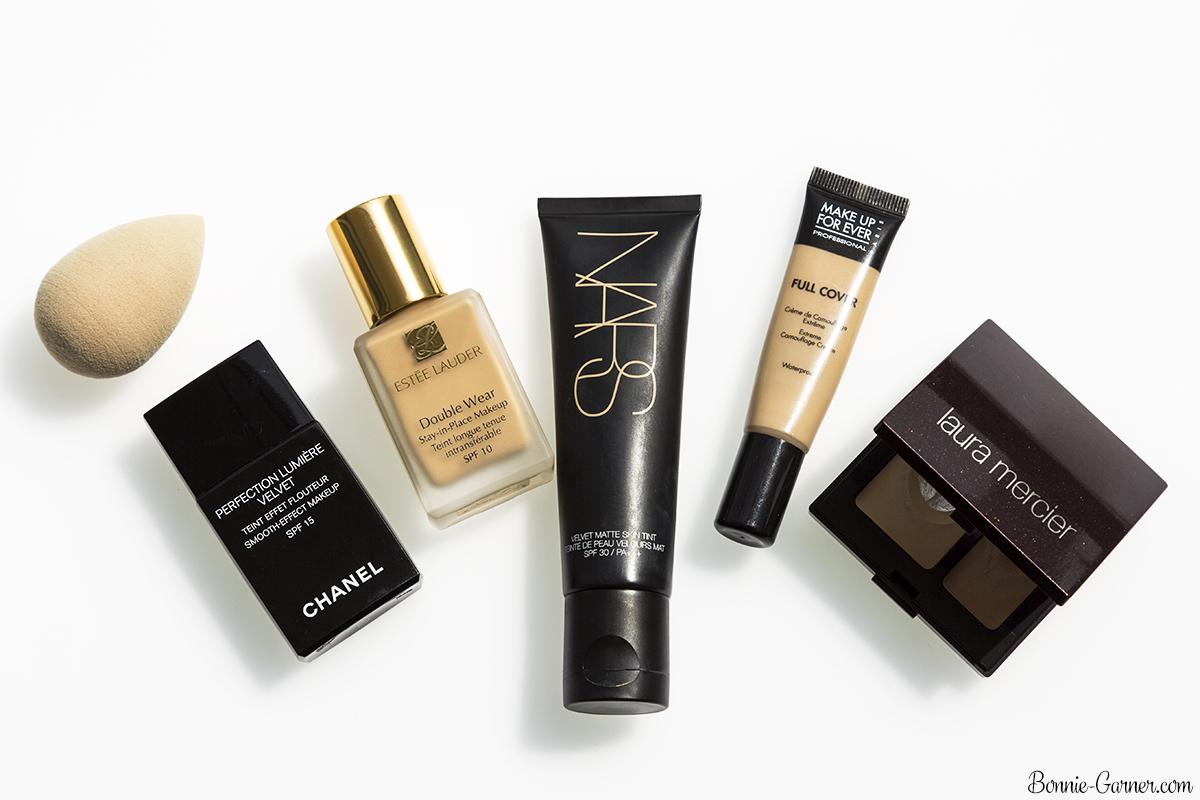 Long lasting foundations and concealers: CHANEL, Estée Lauder, Nars, Nude Beauty Blender, MUFE, Laura Mercier