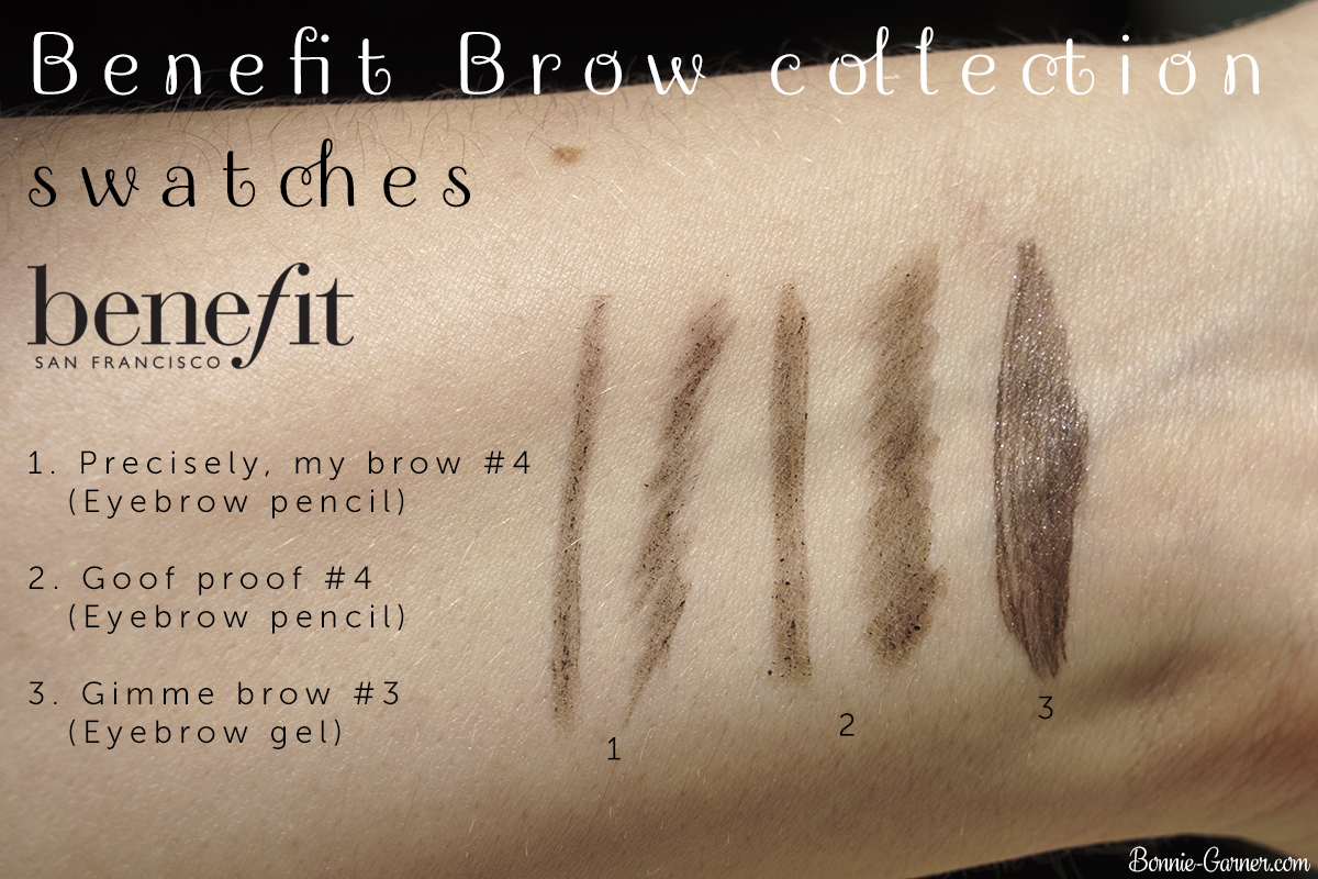 Benefit Brow collection swatches