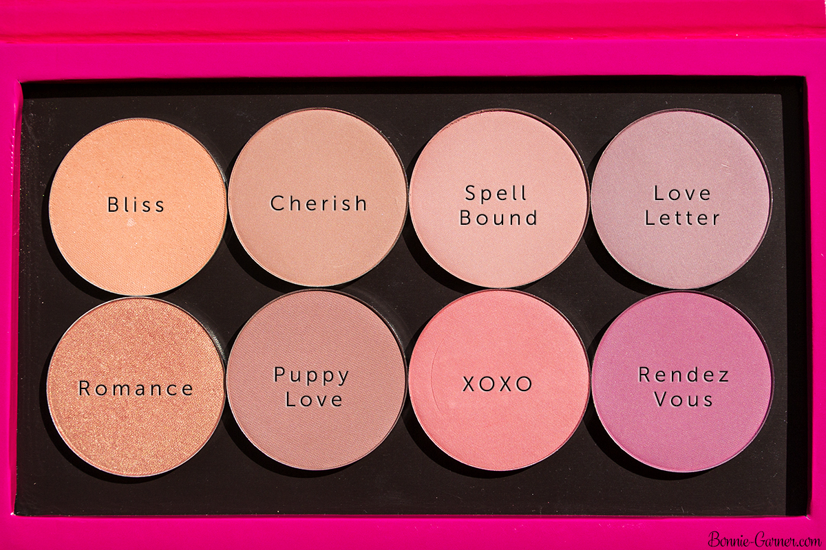 Makeup Geek blushes: Bliss, Cherish, Puppy Love, Romance, Spell Bound, Love Letter, Rendez Vous, XOXO