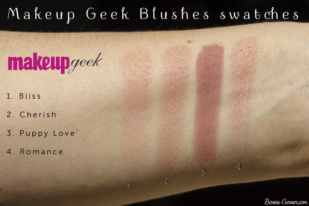 Makeup Geek blushes: Bliss, Cherish, Puppy Love, Romance swatches