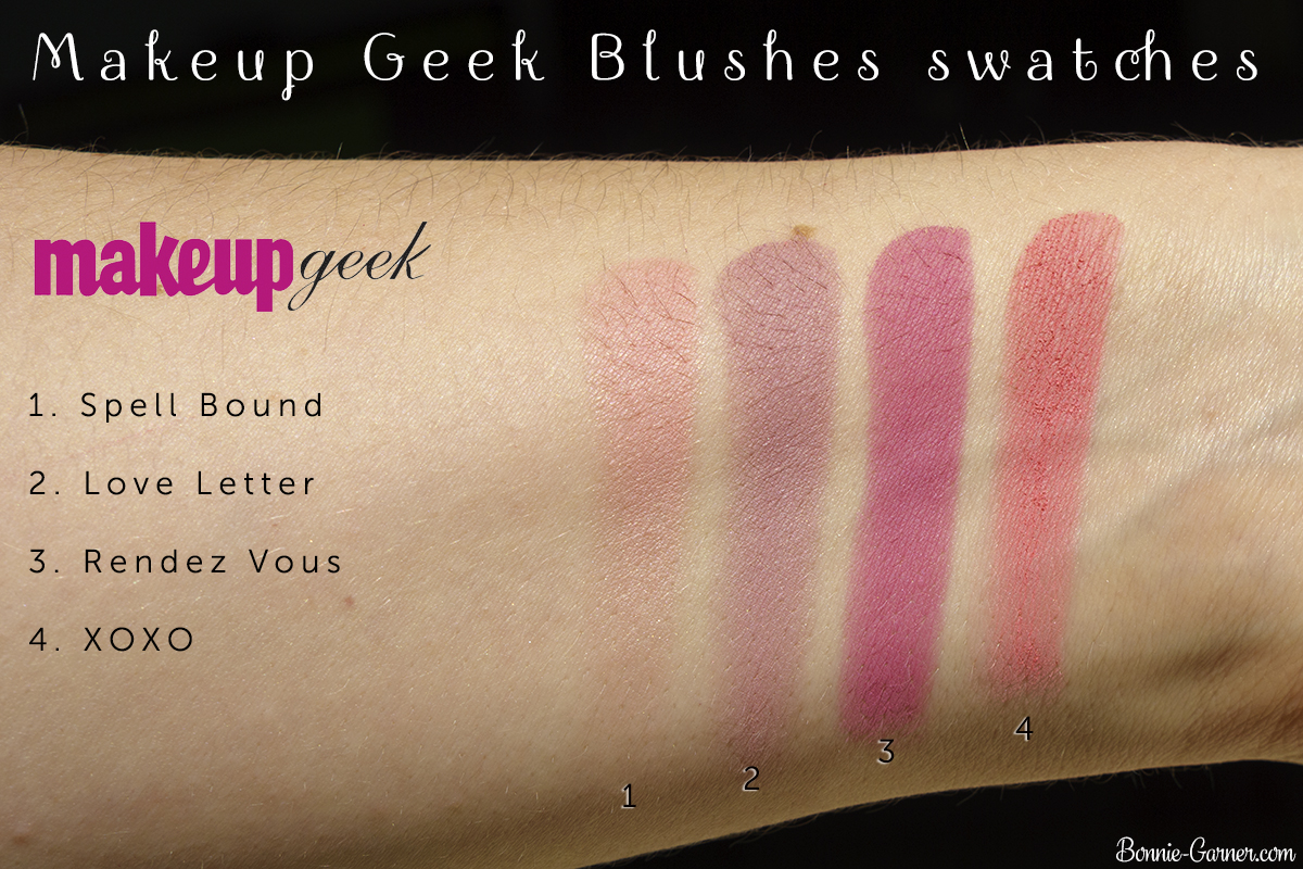Makeup Geek blushes: Spell Bound, Love Letter, Rendez Vous, XOXO swatches