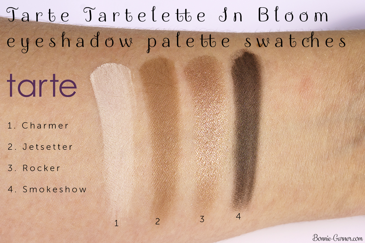 Tarte Tartelette In Bloom eyeshadow palette Charmer, Jetsetter, Rocker, Smokeshow swatches