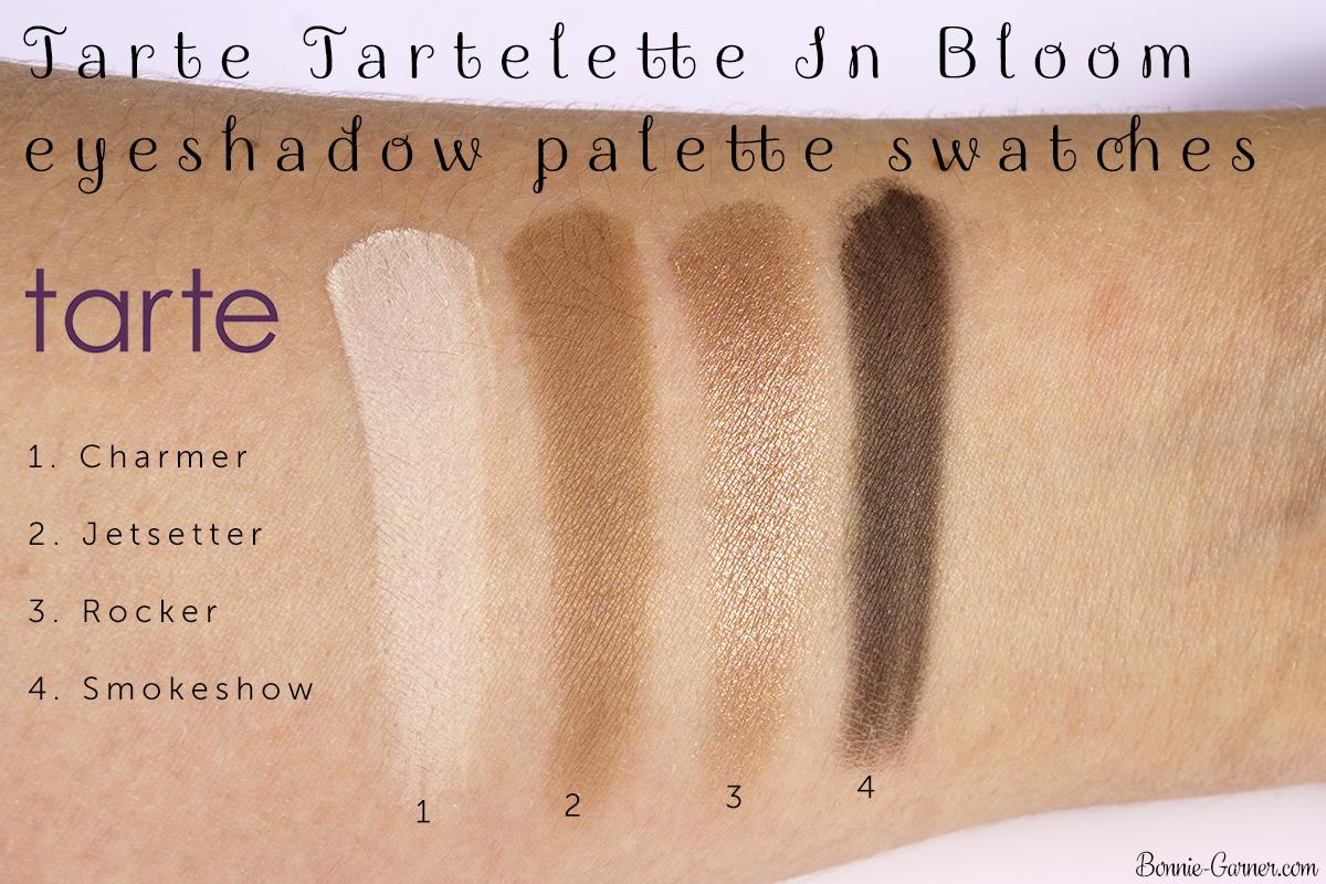 Tarte Tartelette In Bloom eyeshadow palette Charmer, Jetsetter, Rocker, Smokeshow swatches