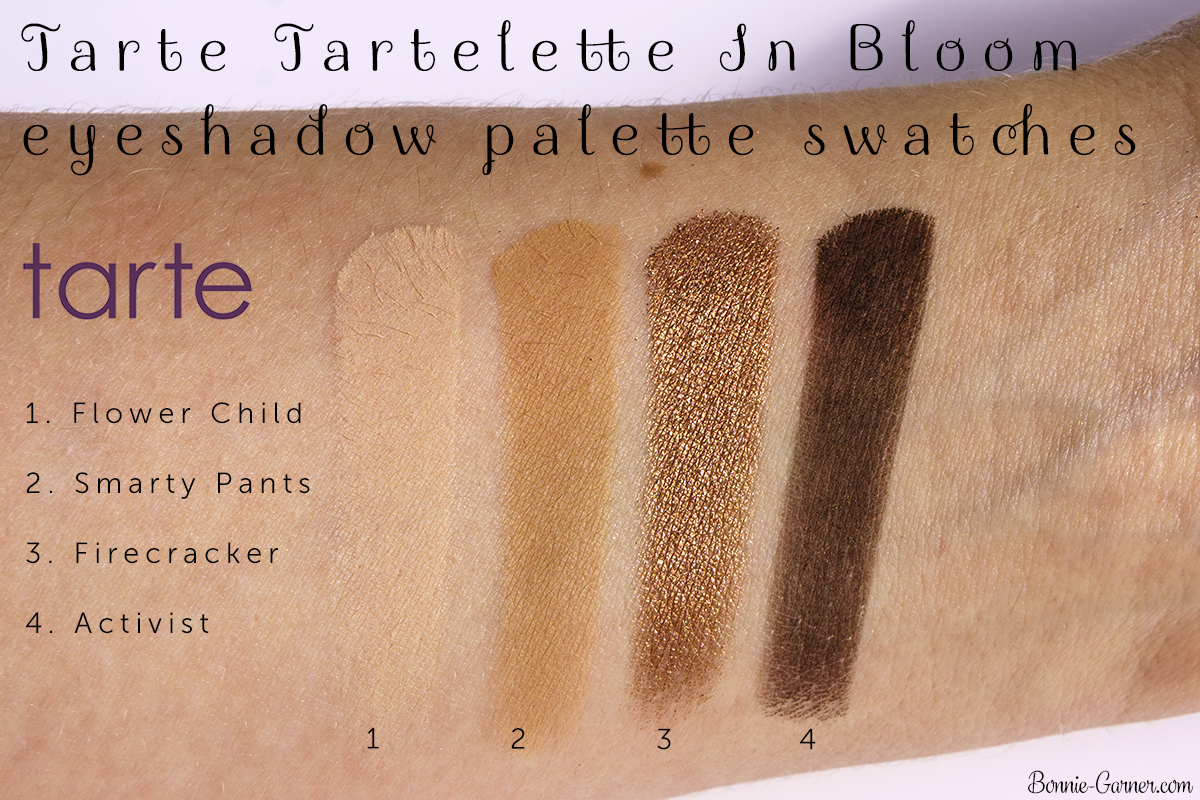 Tarte Tartelette In Bloom eyeshadow palette Flower Child, Smarty Pants, Firecracker, Activist swatches