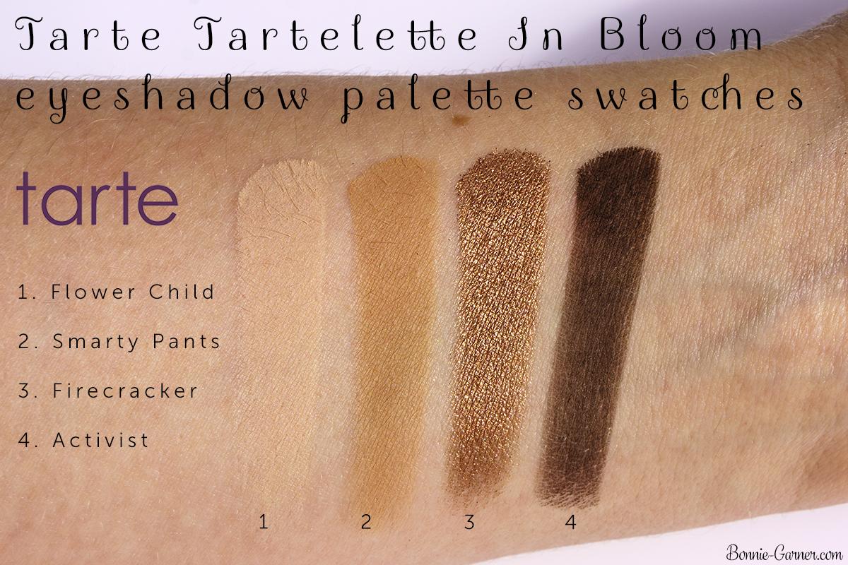 Tarte Tartelette In Bloom eyeshadow palette Flower Child, Smarty Pants, Firecracker, Activist swatches