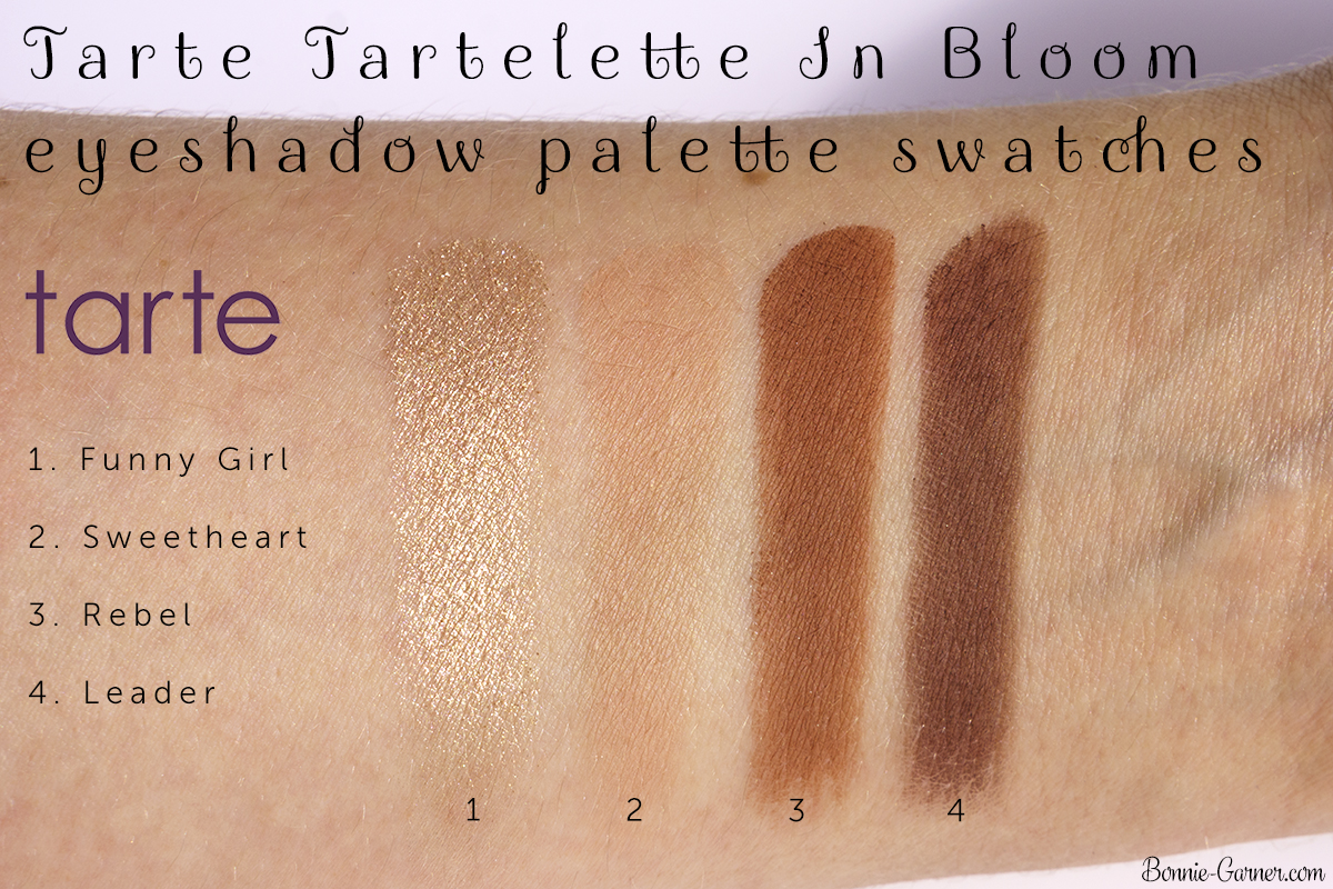 Tarte Tartelette In Bloom eyeshadow palette Funny Girl, Sweetheart, Rebel, Leader swatches