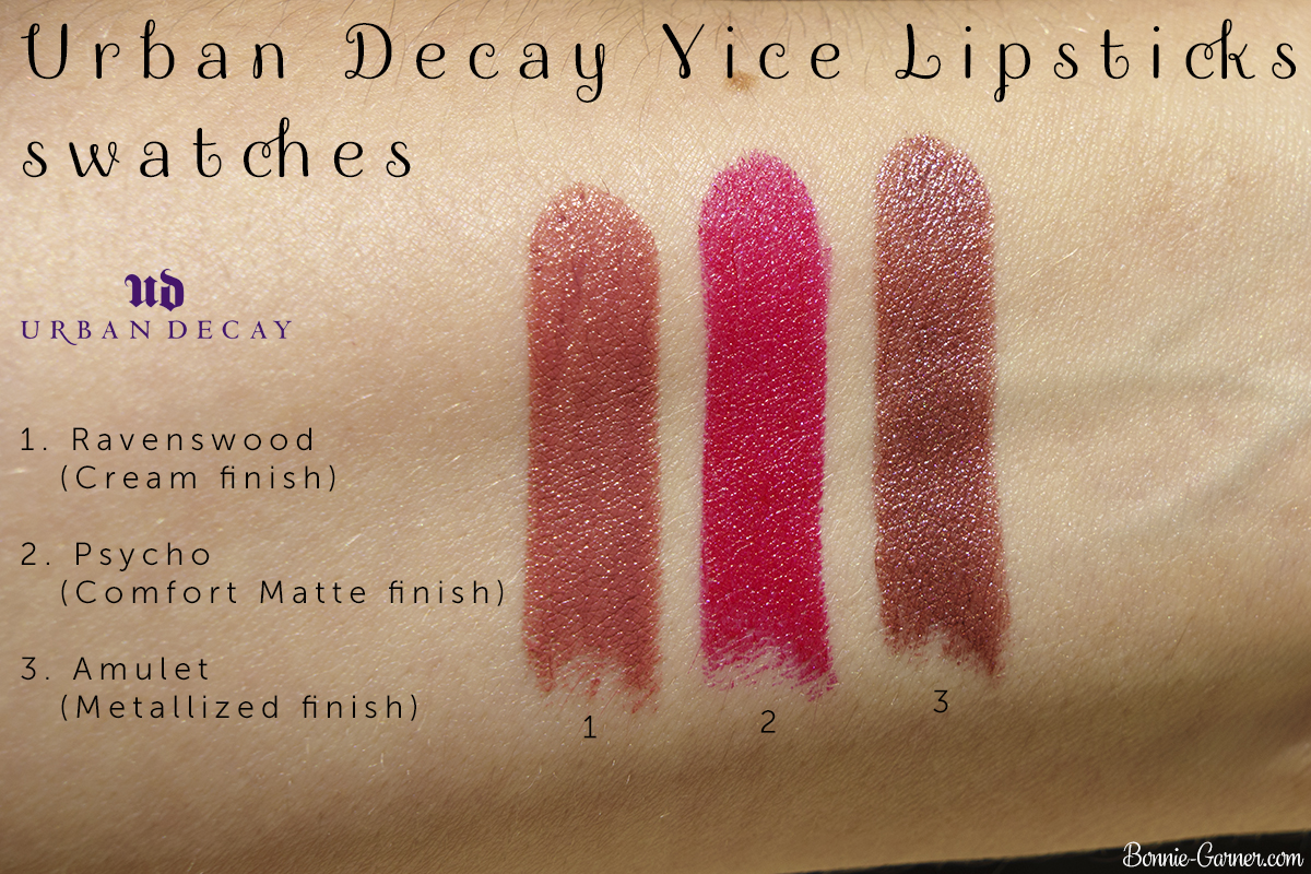 Urban Decay Vice lipsticks Amulet, Ravenswood, Psycho swatches