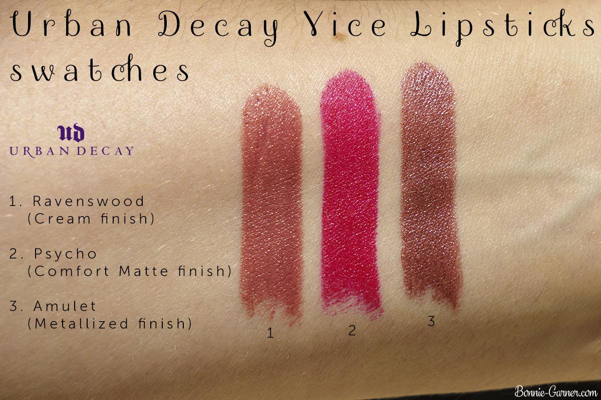Urban Decay Vice lipsticks Amulet, Ravenswood, Psycho swatches