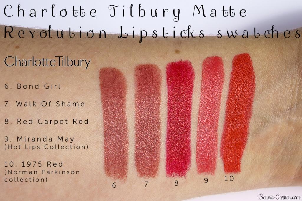 Charlotte Tilbury Hot Lips collection & Matte Revolution lipsticks swatches: Bond Girl, Walk Of Shame, Red Carpet Red, Miranda May, 1975 Red