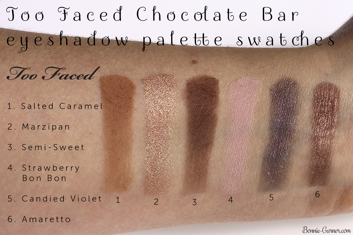 Too Faced Chocolate Bar eyeshadow palette Salted Caramel, Marzipan, Semi-Sweet, Strawberry Bon Bon, Candied Violet, Amaretto swatches