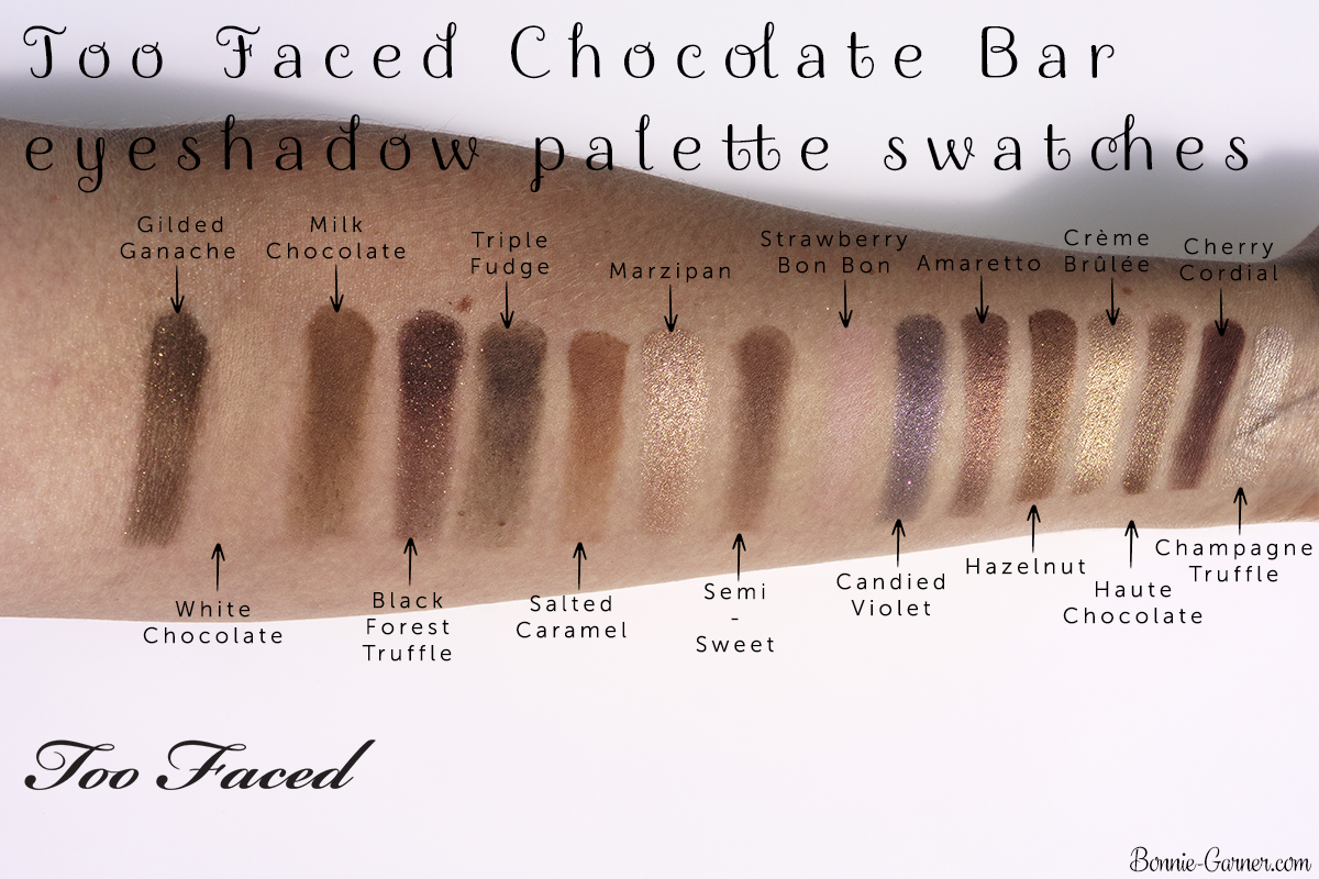 Too Faced Chocolate Bar eyeshadow palette swatches