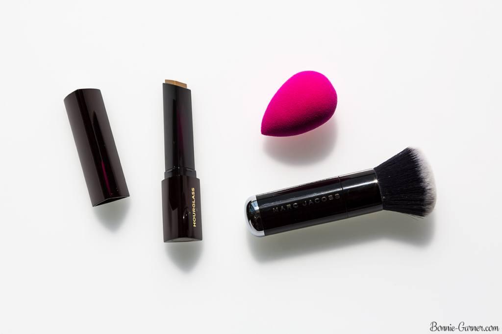 Hourglass Vanish Seamless Finish Foundation Stick, Beauty Blender, Marc Jacobs Face 3 foundation brush
