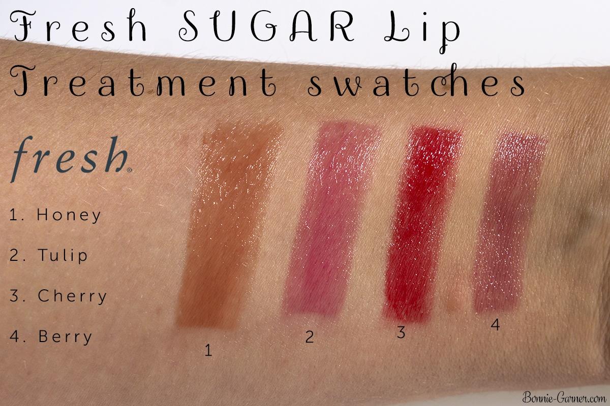 Fresh SUGAR Lip Treatment Honey, Tulip, Cherry, Berry swatches