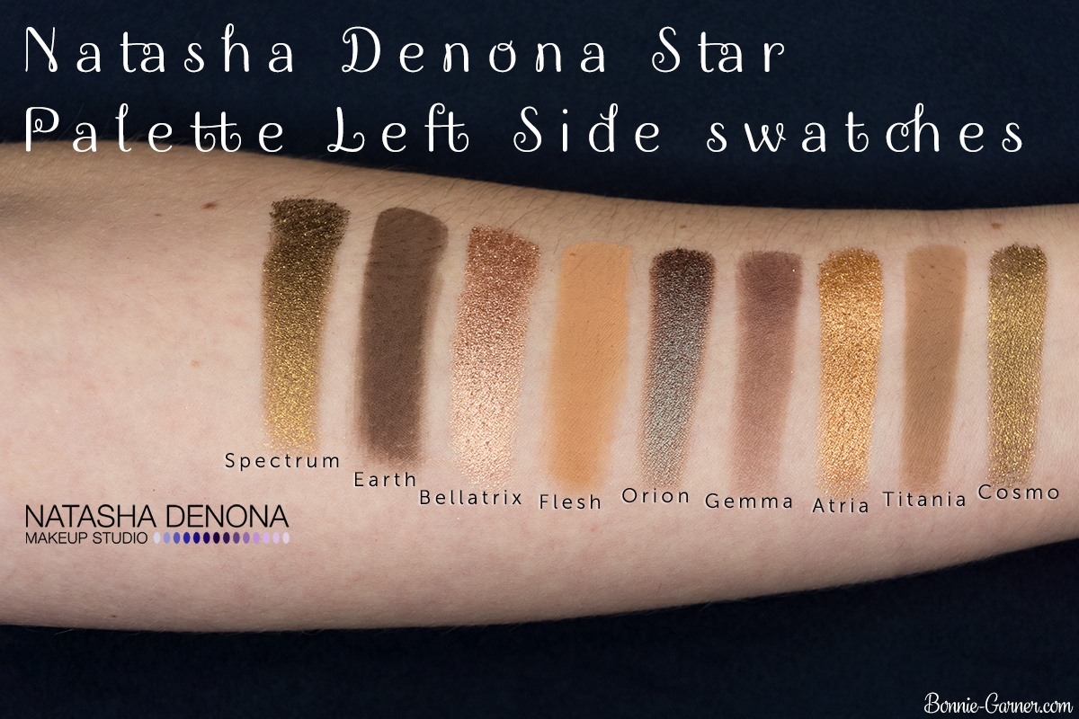 Natasha Denona Star Palette swatches (left side)