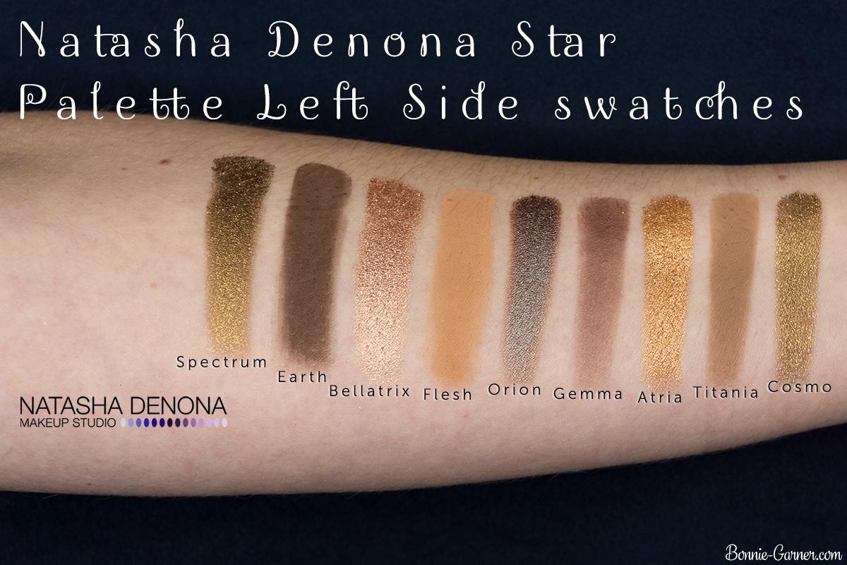 Natasha Denona Star Palette swatches (left side)