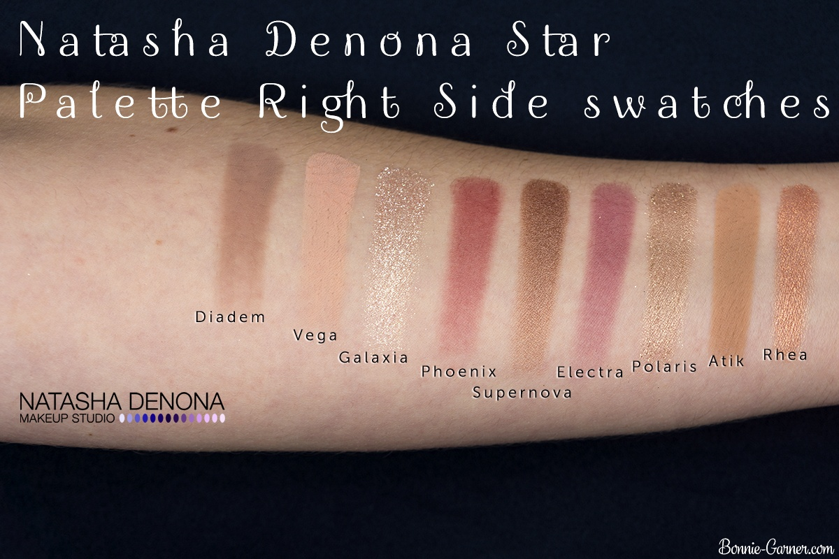 Natasha Denona Star Palette swatches (right side)