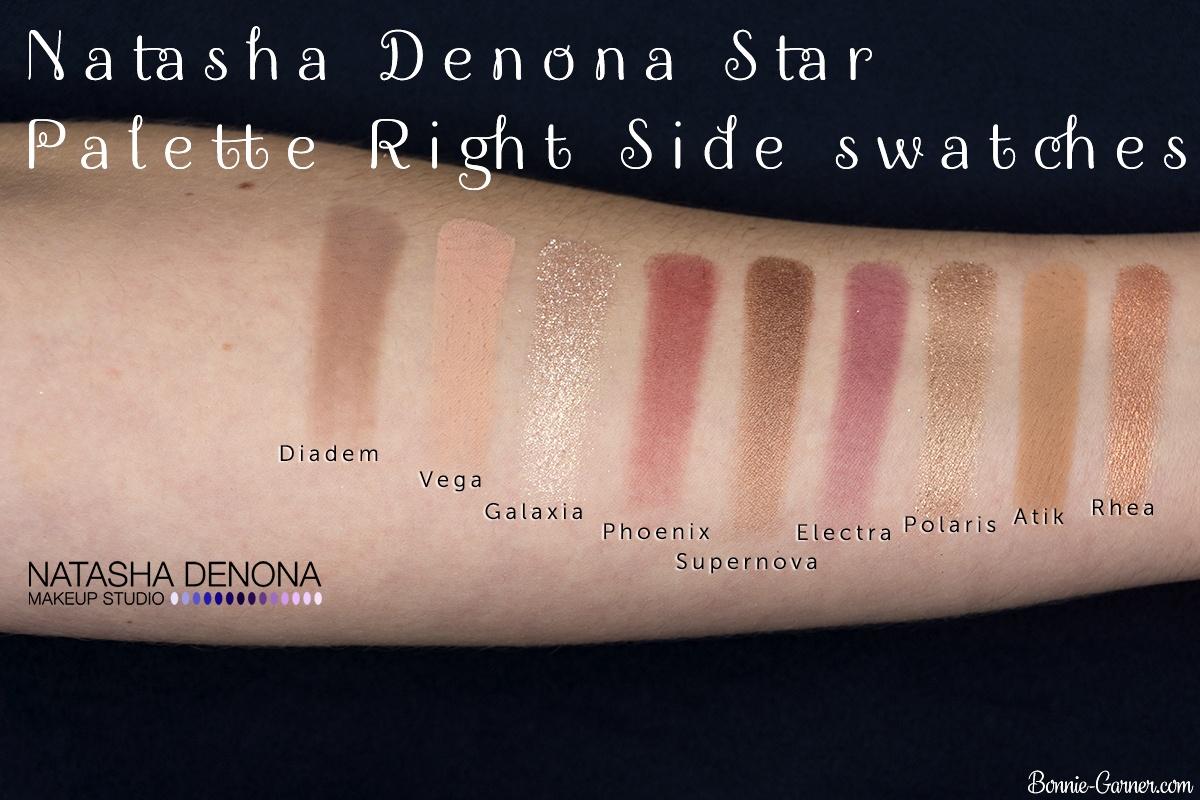 Natasha Denona Star Palette swatches (right side)