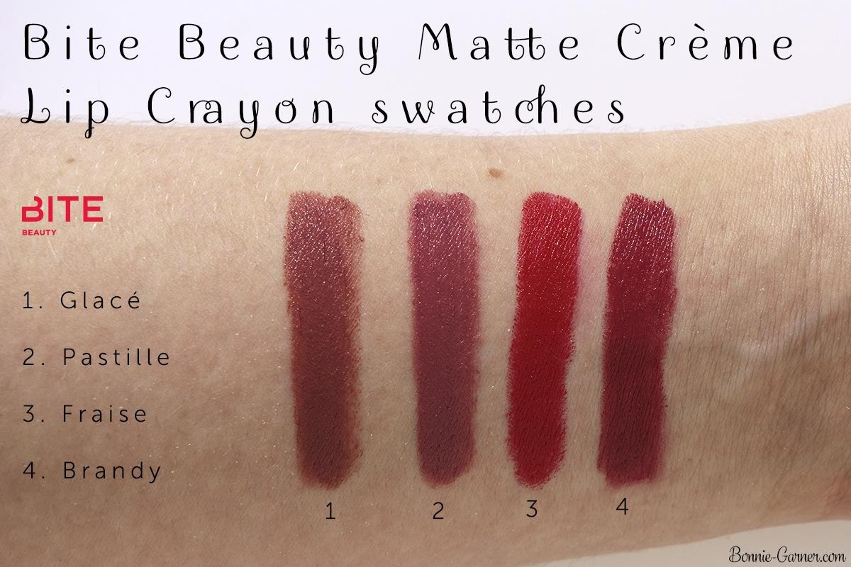 Bite Beauty Matte Crème Lip Crayon: Glacé, Pastille, Fraise, Brandy swatches