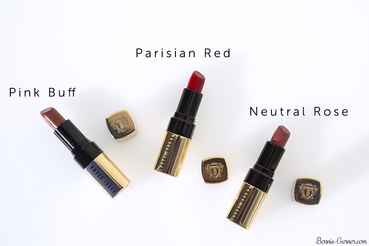 Bobbi Brown Luxe Lip Color lipsticks Neutral Rose, Parisian Red, Pink Buff