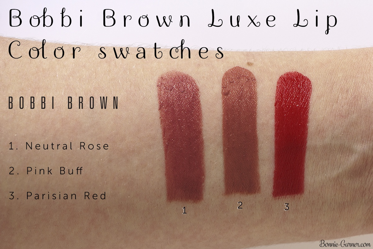 Bobbi Brown Luxe Lip Color lipsticks Neutral Rose, Parisian Red, Pink Buff swatches