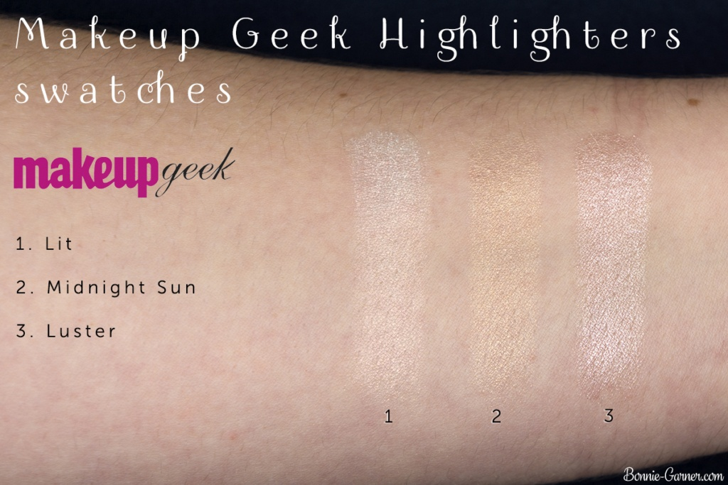 Makeup Geek Highlighters Lit, Midnight Sun, Luster swatches