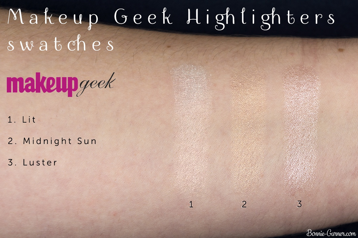 Makeup Geek Highlighters Lit, Midnight Sun, Luster swatches