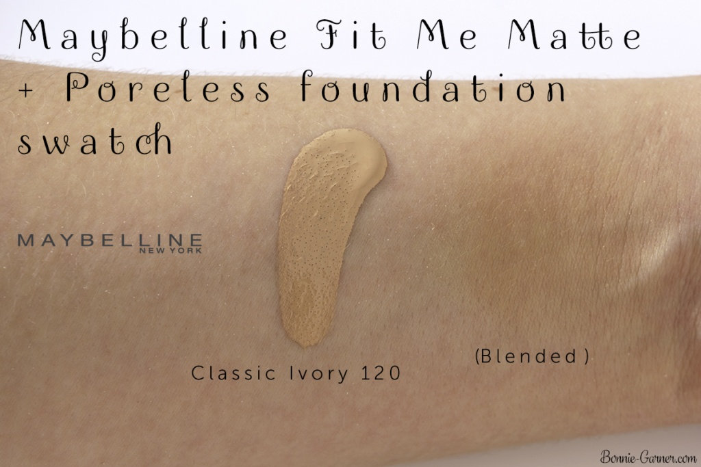 Maybelline Fit Me Matte + Poreless foundation 120 Classic Ivory swatch