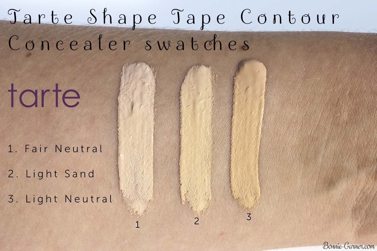 Tarte Shape Tape Contour concealer Fair Neutral, Light Sand, Light Neutral swatches