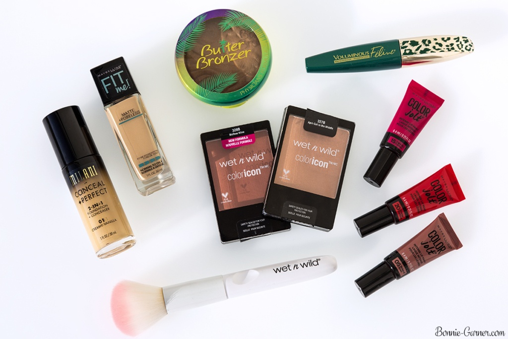 US drugstore makeup products: Maybelline, Physicians Formula, L'Oréal, Milani, Wet n Wild