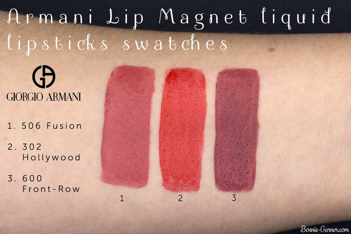 Armani Lip Magnet Liquid Lipstick 302, 506, 600 swatches