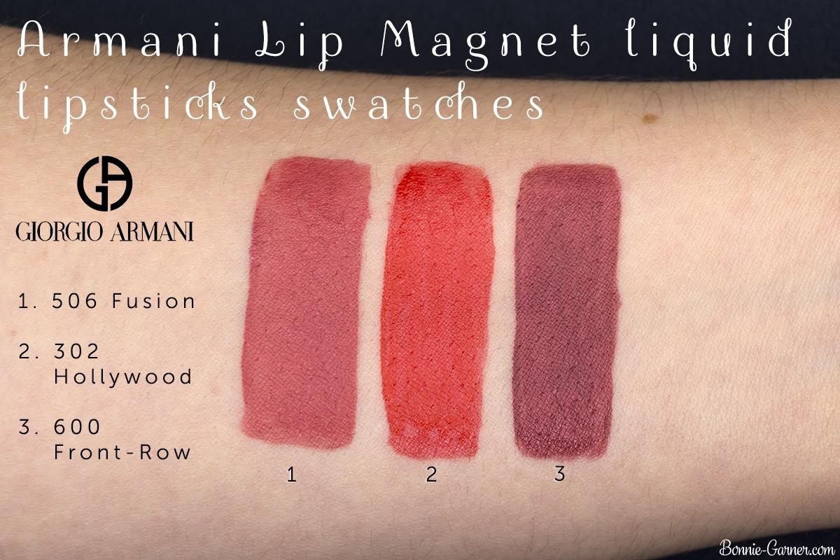 Armani Lip Magnet Liquid Lipstick 302, 506, 600 swatches