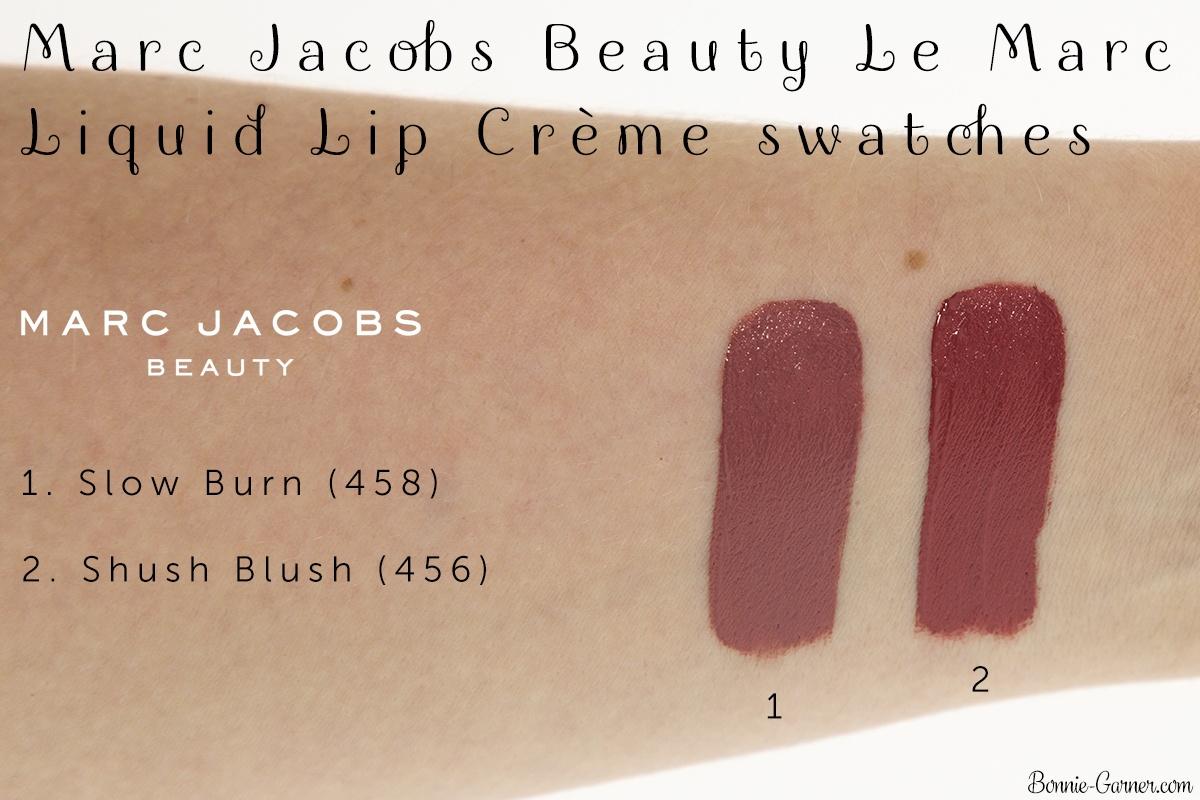 Marc Jacobs Le Marc Liquid Lip Crème Slow Burn, Shush Blush swatches