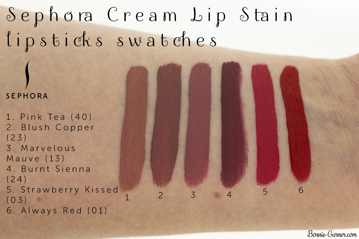 Sephora Cream Lip Stain lipsticks: 01 Always Red, 03 Strawberry Kissed, 24 Burnt Sienna, 23 Marvelous Mauve, 24 Blush Copper, 40 Pink Tea swatches