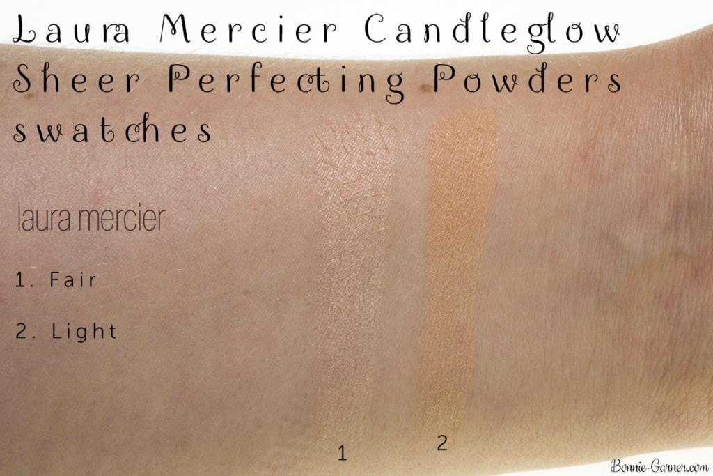 Laura Mercier Candleglow Sheer Perfecting Powder: 01 Fair, 02 Light swatches