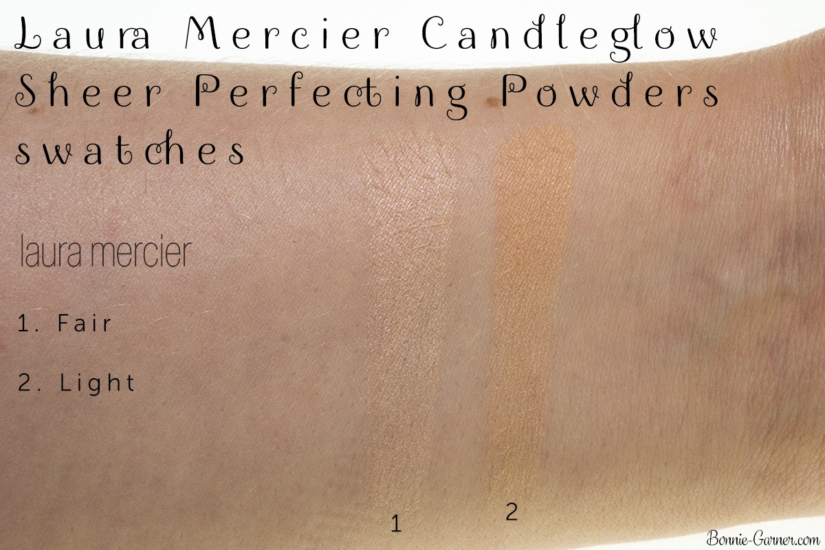 Laura Mercier Candleglow Sheer Perfecting Powder: 01 Fair, 02 Light swatches